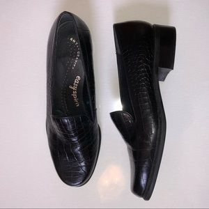 Easy Spirit Anti-Gravity Black Leather Heels 8.5
